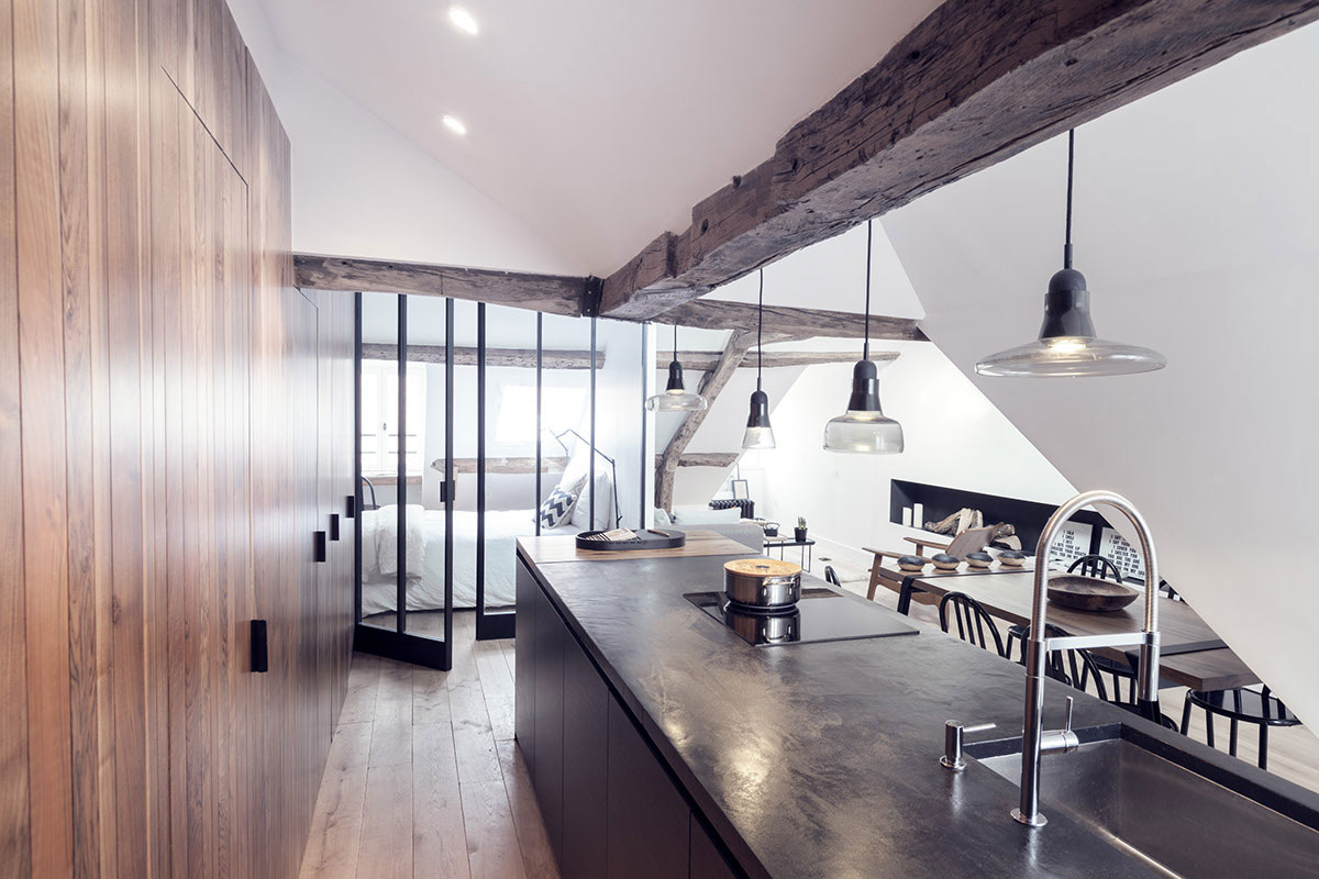 Picture Of paris apartment combining rustic charm and modern style  2