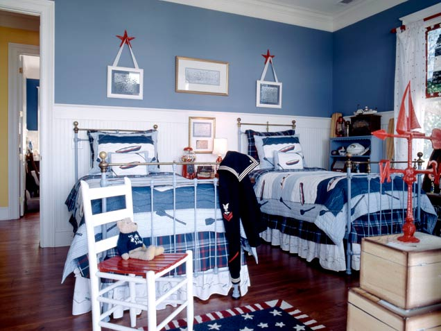 33 wonderful boys room design ideas digsdigs for Blue and white boys room