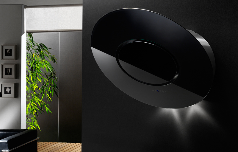 Rounded Modern Black Wall Range Hoods By Airone Digsdigs