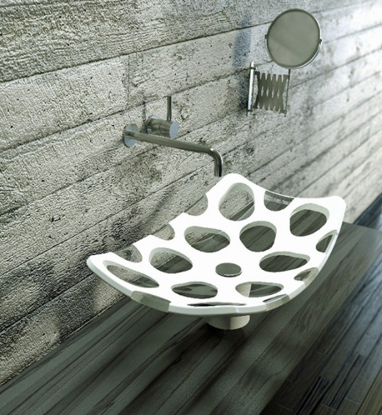 Penta Vessel Sink Of Two Contrasting Materials