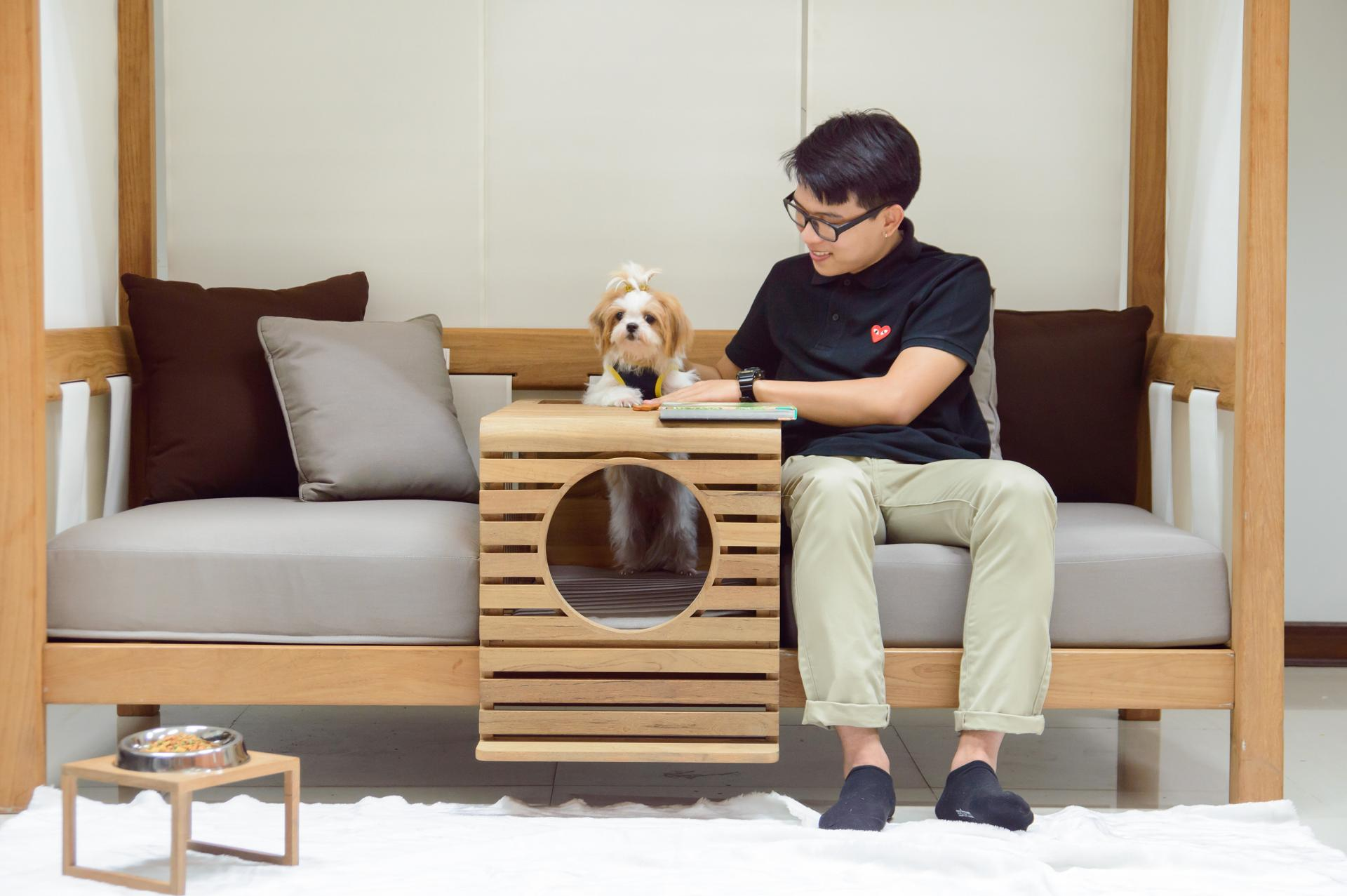 Picture Of pet modular sofa with a pet home integrated  1