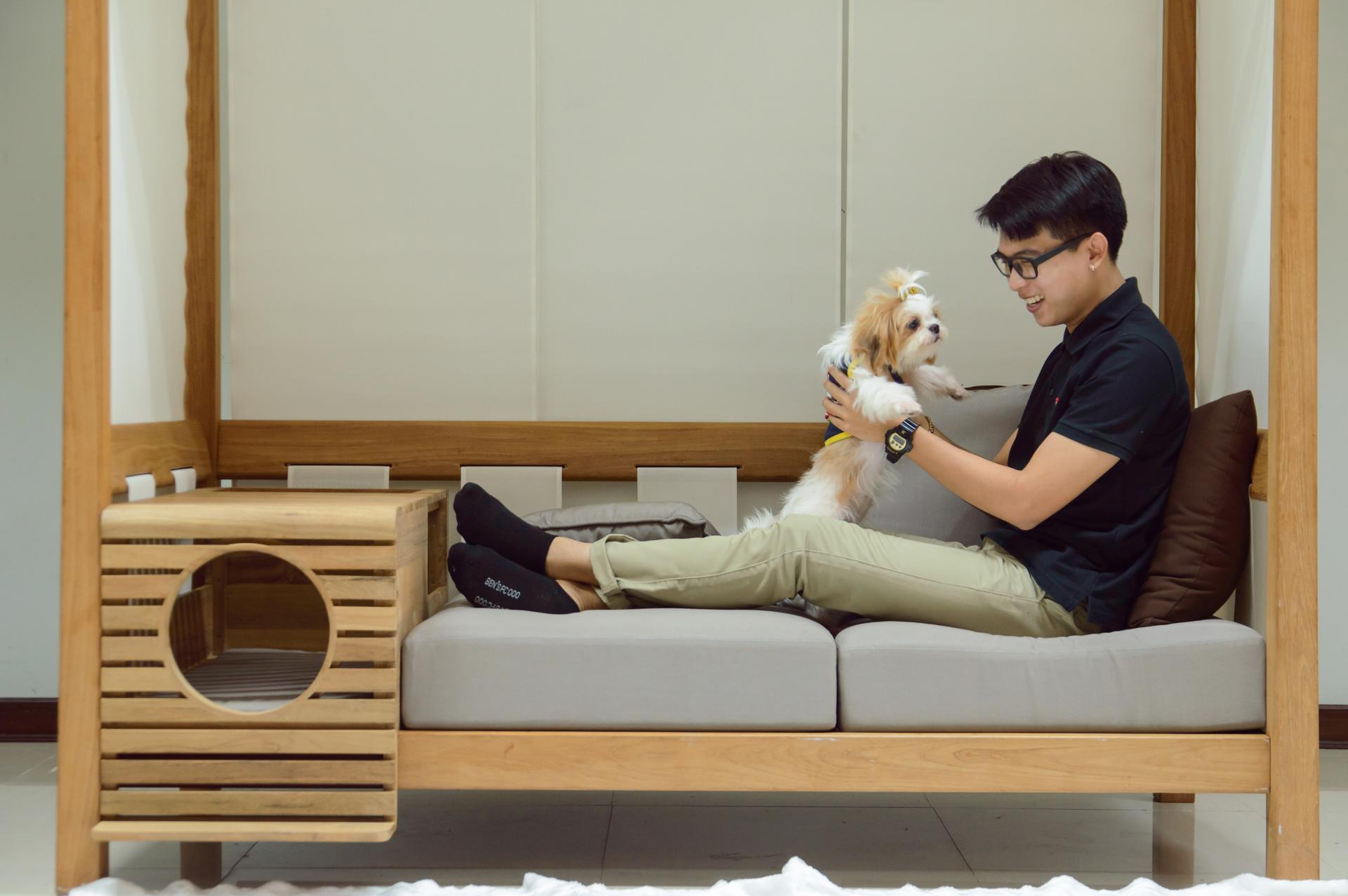 Picture Of pet modular sofa with a pet home integrated  3