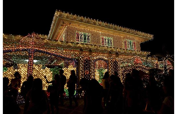 Christmas lights on house in Philippines