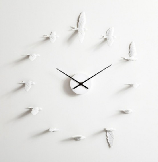Vintage Philosophic And Romantic Flying Swallows Clock