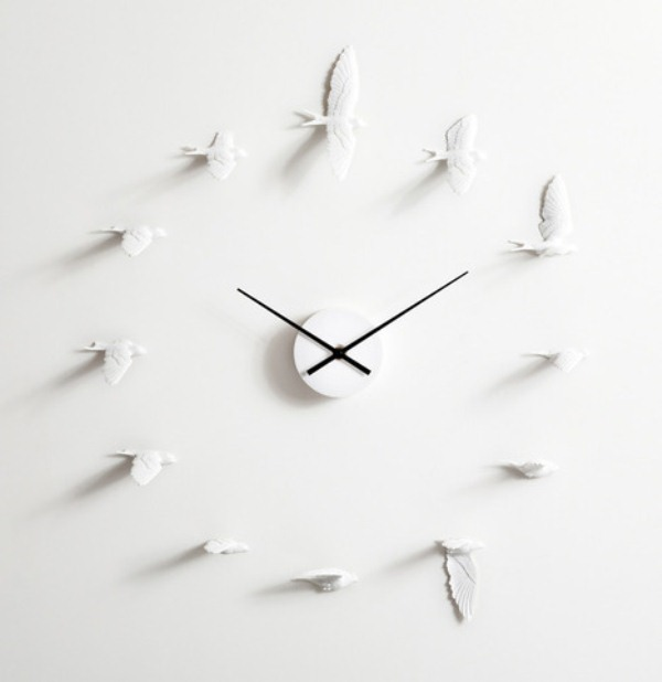 Philosophic And Romantic Flying Swallows Clock
