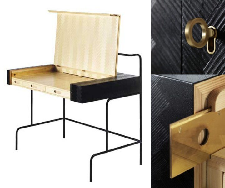 Pine And Brass Desk In Retro Style Digsdigs