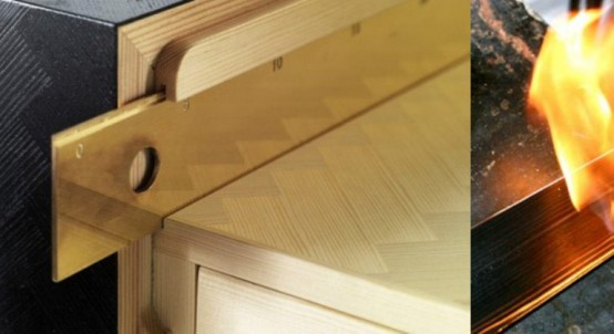Pine And Brass Desk In Retro Style