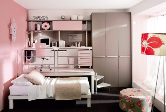 pink loft teenage bedroom