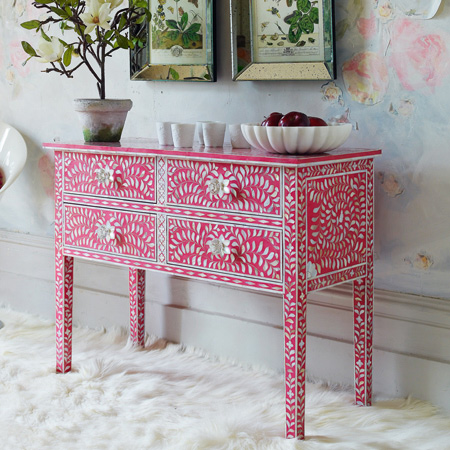 Pink Mother Of Pearl Inlay Console Table
