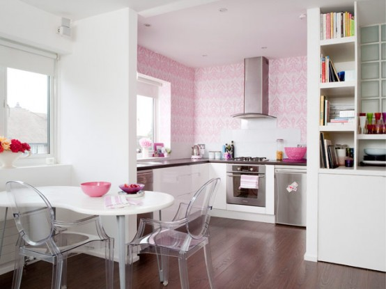 Pink And White Modern Kitchen And Dining Room