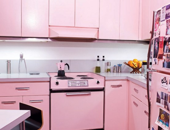 Cool Pink Kitchen Design With Retro and Chic Look