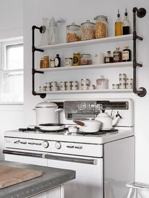 Industrial eye candy 40 pipes home decor ideas digsdigs for Shelving in kitchen