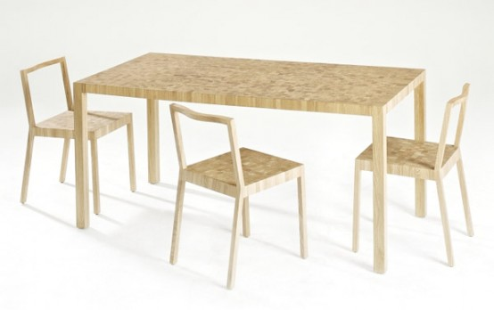Pixilated Oak Dining Table And Chairs