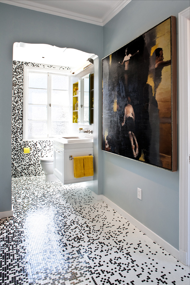 Pixilated bathroom design made with custom mosaic tile for Designer bathroom flooring