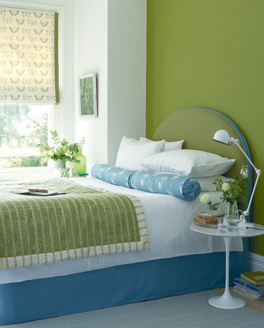 Plain Green Blue Bedroom