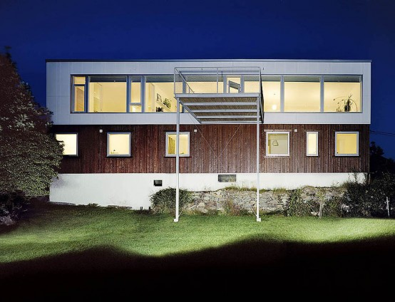 Swedish House Design with A Large Balcony – Plastic House by UNIT Arkitektur AB