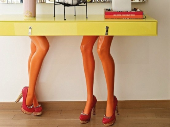 Playful Bff Console Tables With Sexy Girl Legs