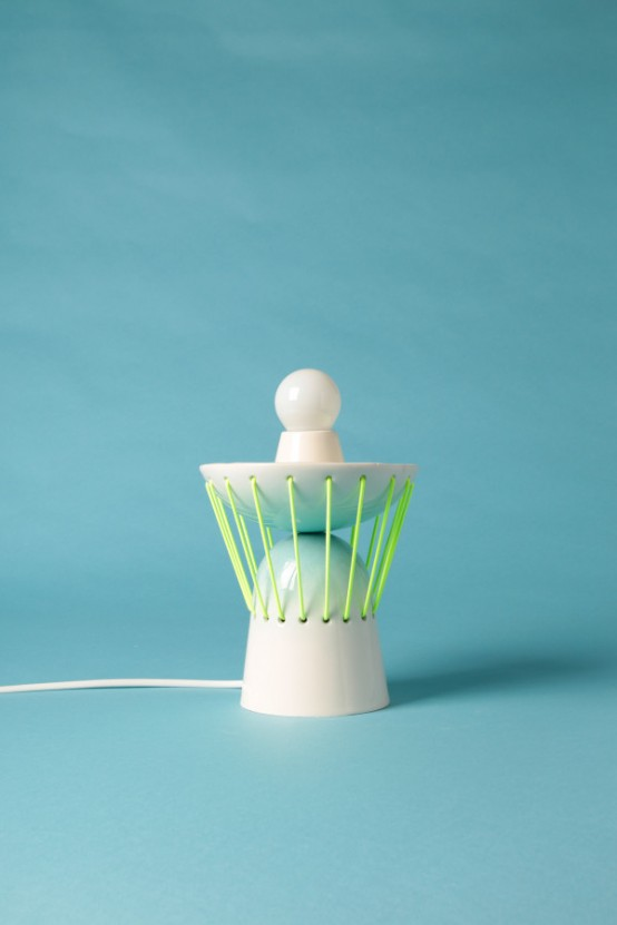Playful Elastic Lights From Ceramics And Bold Elastic Cords