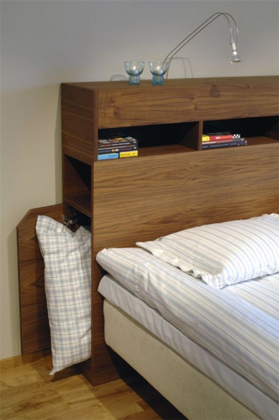 Simple plywood masculine headboard with storage partments