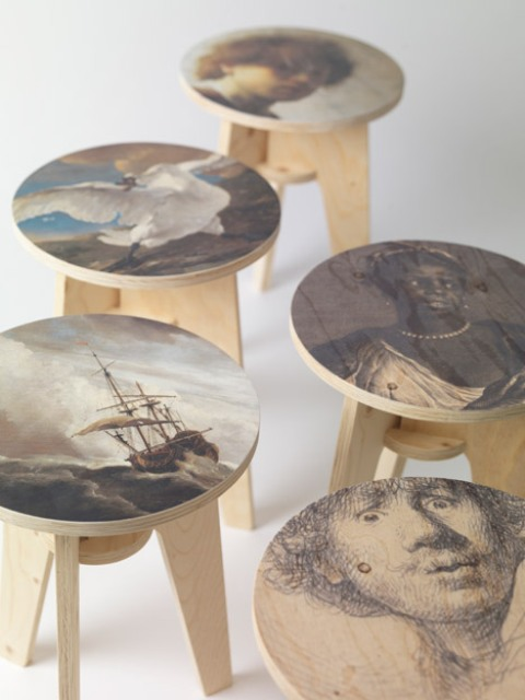 Plywood Print Stool Collection With Dutch Masterpieces