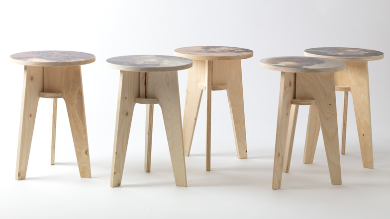 Exhibition Portable Flat Pack Furniture : Plywood print stool collection with dutch masterpieces