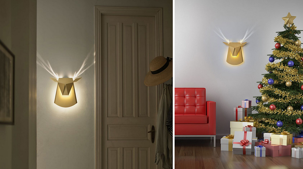 Popup Reindeer Cardboard Light With Shiny Antlers