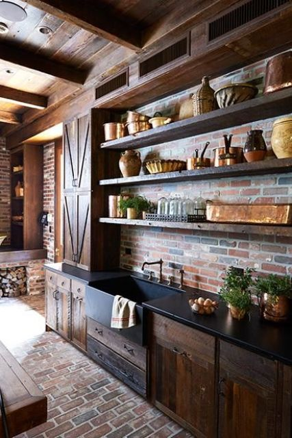 30 Super Practical And Really Stylish Brick Kitchen ... on Farmhouse:4Leikoxevec= Rustic Kitchen Ideas  id=99333