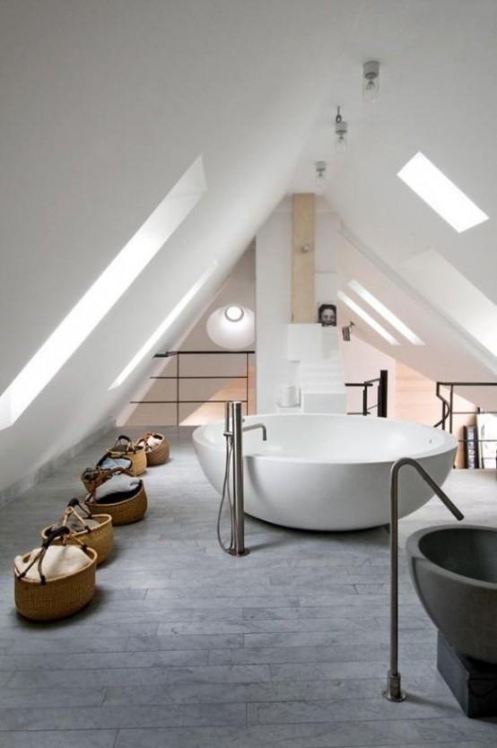 38 practical attic bathroom design ideas digsdigs. Black Bedroom Furniture Sets. Home Design Ideas