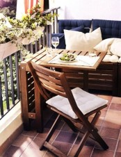 make a sitting bench of wooden planks incorporating a storage space inside and voila