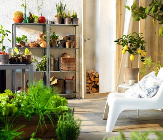 open grey shelving units feature much storage but they will fit larger balconies or patios