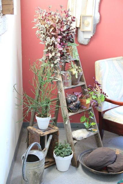 a ladder can be used for storing pieces or decor and when you need it, just fold it and take away