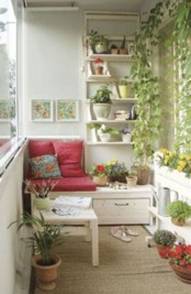 a storage bench and some open shelving over it are all you need for a small balcony