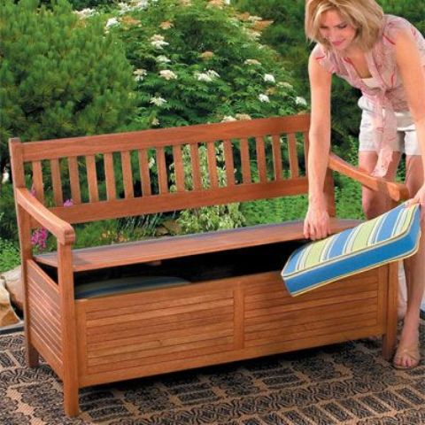 a simple storage bench of wooden planks with some cushions is all you need