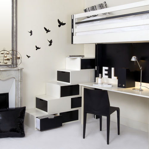 practical furniture for black and white interior design by espace