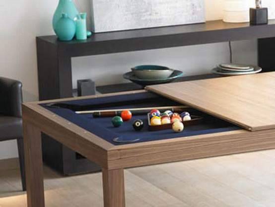 dining and coffee tables with builtin games practical