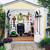 holders on the walls aren't always enough, get some on the doors, too, and your shed will be more organized