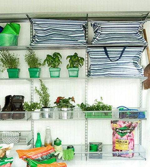 a large open storage metal shelving unit is a very practical idea, it's durable and can hold much weight