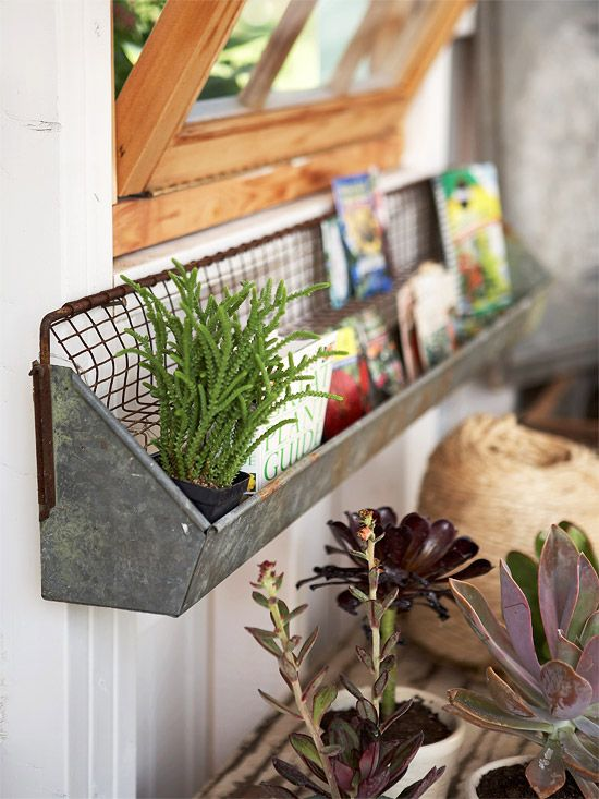 a simple old metal shelf attached to the wall may accommodate some stuff you often use