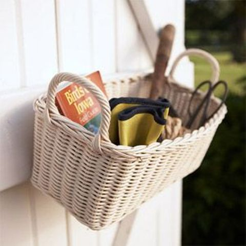 attach some baskets to the walls to store various stuff in them