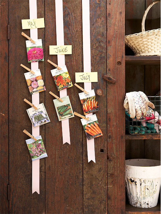 paper strips can be used to attach some seeds packages with clothespins