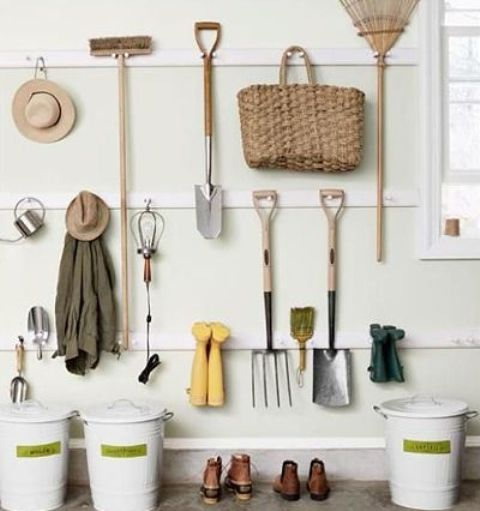 simple hook strips on the wall will be a nice organization idea for a shed, hang whatever you like including whole storage units