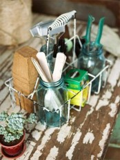 a wire basket with compartments is a pretty and nice idea to organize and it features mobility