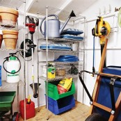 large metal shelving units will provide you with open storage space and are comfy to organize your things