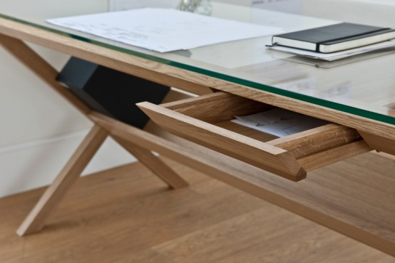 Home Office Desk with Innovative Paper Storage