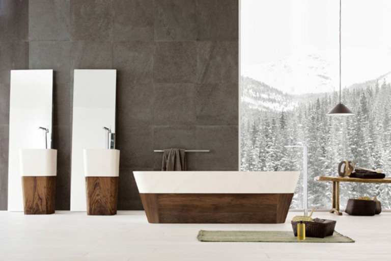 Precious Bathroom Furniture Collection Of Natural Wood And Stone