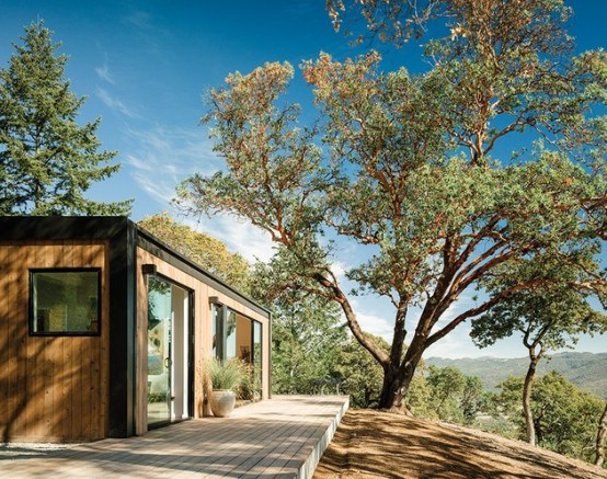 Prefab Hill Wooden House In Earthy Shades