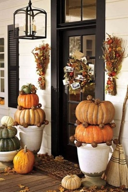 Make your own pumpkin and pinecone topiaries.