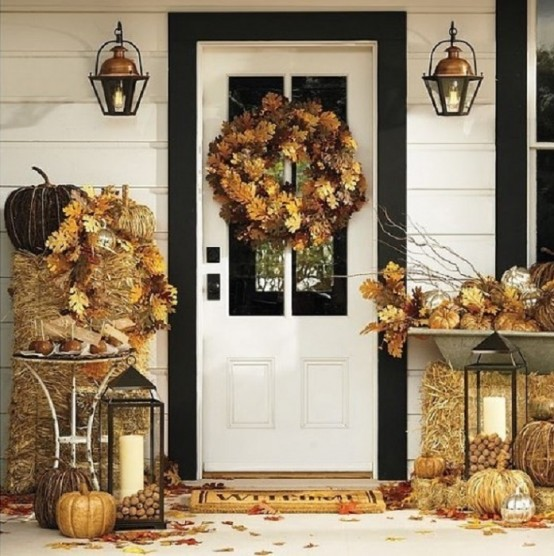 Make a wreath using dried Fall flora.