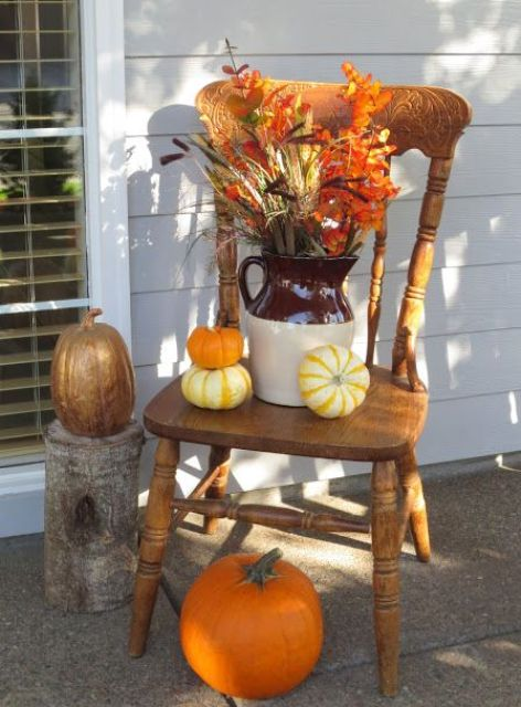 A Fall bouquet is a perfect thing to display on a chair.