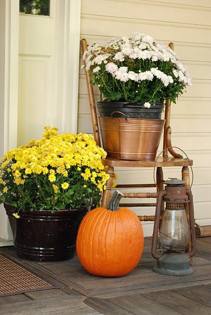 To make it count, plant fall flowers into large buckets.